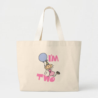 I'm Two Stick Figure Girl Birthday T-shirts Tote Bags
