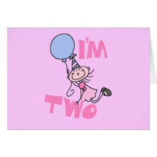 I'm Two Stick Figure Girl Birthday T-shirts Greeting Card