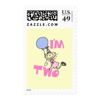 I'm Two Stick Figure Girl Birthday T-shirts Stamps