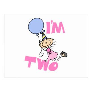 I'm Two Stick Figure Girl Birthday T-shirts Postcard