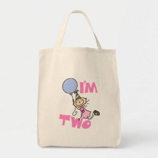 I'm Two Stick Figure Girl Birthday T-shirts Tote Bag