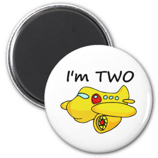 I'm Two, Yellow Plane 2 Inch Round Magnet
