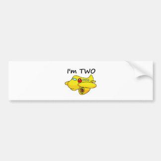 I'm Two, Yellow Plane Bumper Sticker
