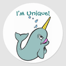 I'm Unique! (Narwhal) Classic Round Sticker