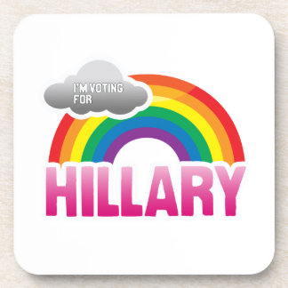I'M VOTING FOR HILLARY WITH PRIDE -.png Beverage Coasters