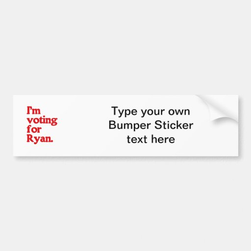 I'M VOTING FOR PAUL RYAN CAR BUMPER STICKER