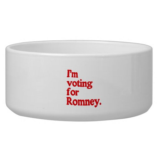 I'M VOTING FOR ROMNEY DOG WATER BOWL