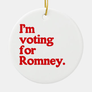 I'M VOTING FOR ROMNEY Double-Sided CERAMIC ROUND CHRISTMAS ORNAMENT