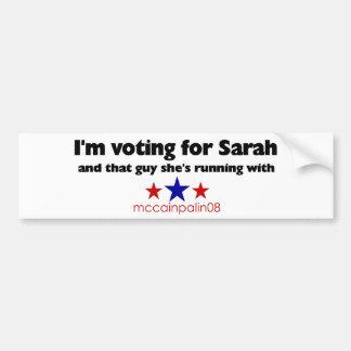 I'm Voting for Sarah Bumper Sticker