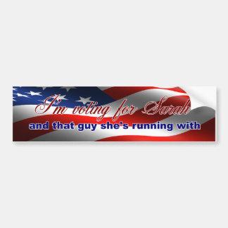 I'm Voting For Sarah Bumper Sticker Car Bumper Sticker