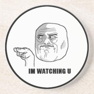 I'm Watching U Comic Face. Drink Coaster