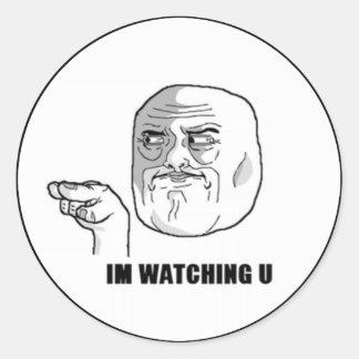 I'm Watching U Comic Face. Classic Round Sticker