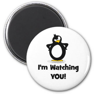 I'm Watching You Penguin 2 Inch Round Magnet