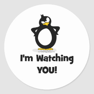 I'm Watching You Penguin Classic Round Sticker