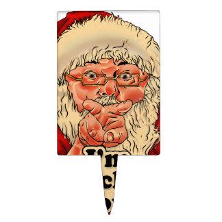 Im watching you-santa claus illustration cake topper