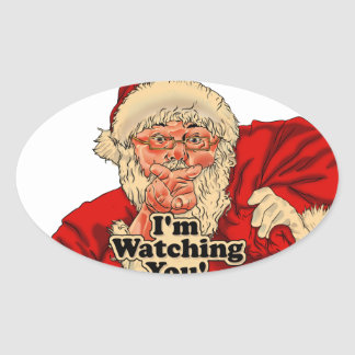 Im watching you-santa claus illustration oval sticker