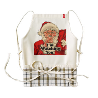 Im watching you-santa claus illustration zazzle HEART apron