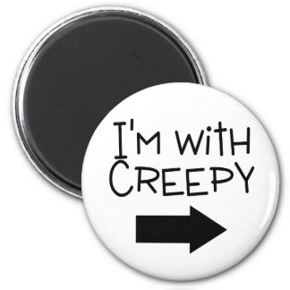 Im With Creepy Arrow 2 Inch Round Magnet