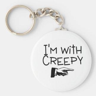 Im With Creepy Basic Round Button Keychain
