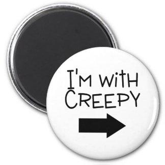 Im With Creepy Halloween 2 Inch Round Magnet