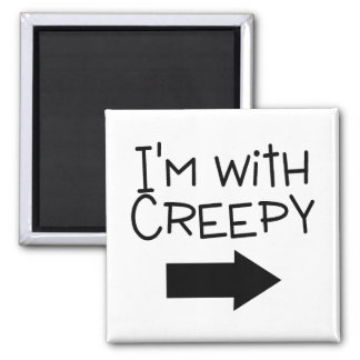 Im With Creepy Halloween 2 Inch Square Magnet