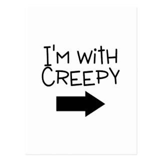 Im With Creepy Halloween Postcard