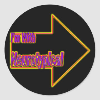 I'm With Neurotypical Neon Sticker