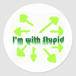 I'm with Stupid Classic Round Sticker