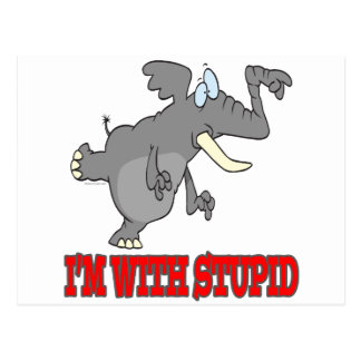 im with stupid funny pointing elephant postcard