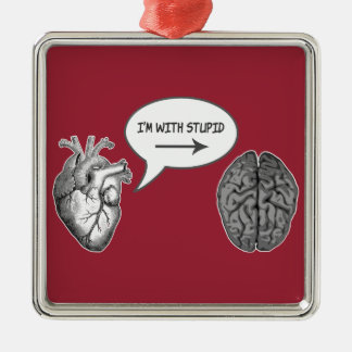 I'm With Stupid (Heart to Brain) Christmas Ornament