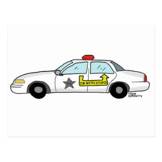 Im With Stupid logo on police officer's patrol car Postcard