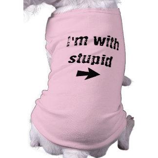 I'm With Stupid - right arrow- Dog Tank Pet Tee Shirt