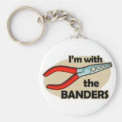 Basic Button Keychain with I'm With The Banders design