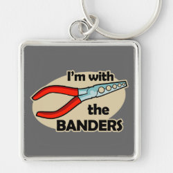 Premium Square Keychain with I'm With The Banders design