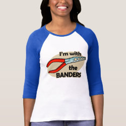 Ladies Raglan Fitted T-Shirt with I'm With The Banders design