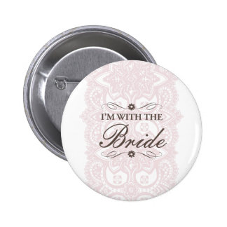 I'm with the Bride Button-Vintage Bloom Pinback Button