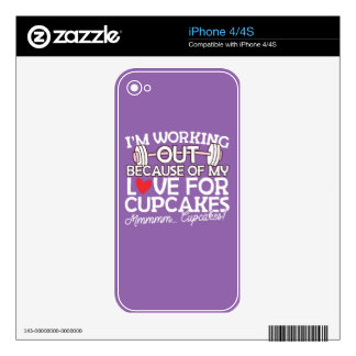 I'm Working Out Because of my Love for Cupcakes Skin For iPhone 4