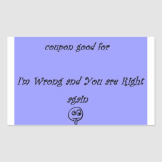 Im wrong you are right coupon sticker blue