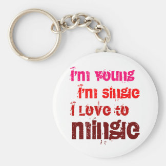 I'm Young I'm Single I Love To Mingle Basic Round Button Keychain