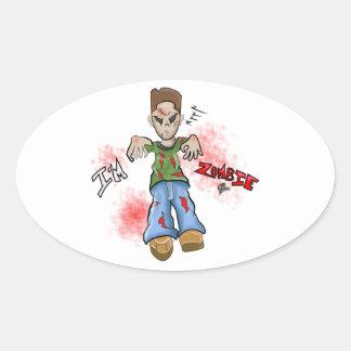 I'M Zombie Boy Toy by GT Artland Oval Sticker