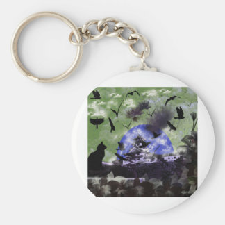 Imabari castle and flower and bird basic round button keychain