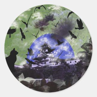 Imabari castle and flower and bird classic round sticker