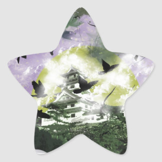 Imabari castle and flower and bird star sticker
