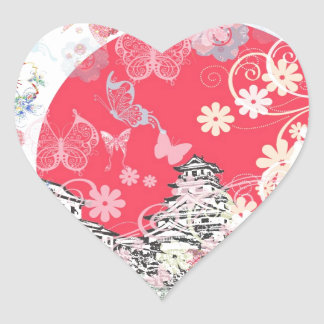 Imabari castle and flower and butterfly heart sticker