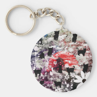 Imabari castle and flower and butterfly keychain