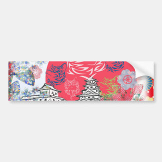 Imabari castle and flower and cat bumper sticker