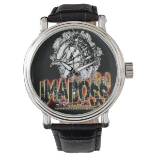 ImaBossClothing Brand Black Vintage Leather Wrist Watch