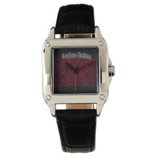 ImaBossClothing Brand Perfect Square Black Leather Wristwatch