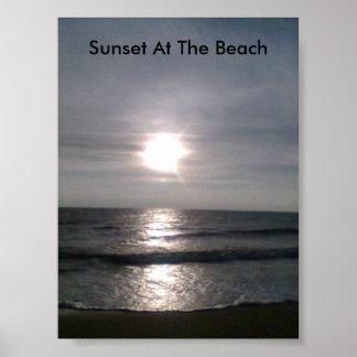 image001 (6), puesta del sol en la playa póster