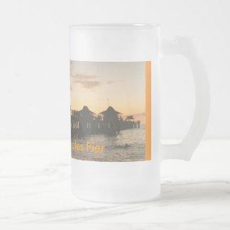 image0-8, Kick Back on Naples Pier 16 Oz Frosted Glass Beer Mug